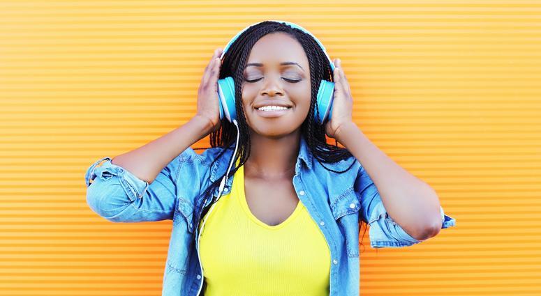 headphones listening music