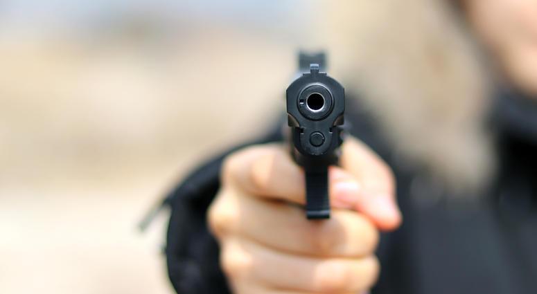 police officer pointing gun