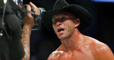 """Donald """"Cowboy"""" Cerrone reacts after his win at UFC 202."""