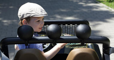 A 2-year-old boy drove his own tractor to the county fair