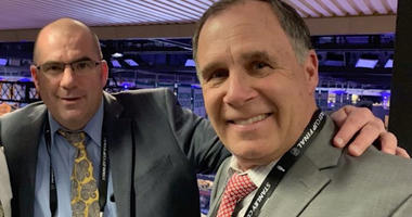 Chris Kerber (left), the St. Louis Blues radio play-by-play announcer, with John Kelly (right), the Blues TV play-by-play announcer.