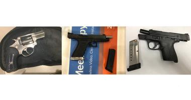Three guns confiscated by TSA