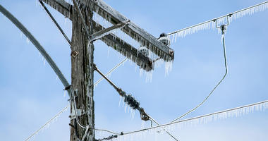 ice on powerlines