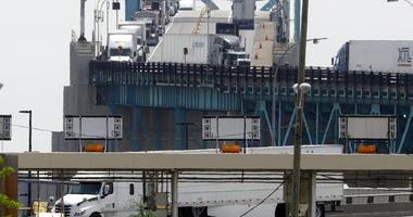 Trucks cross the Ambassador Bridge