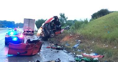 Semi-Truck 'Splits In Half' In Crash Along US-23 [VIDEO]