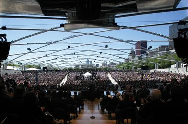 Rahm Emanuel makes his inaugural speech after he was sworn in as Chicago's 46th mayor at the Jay Pritzker Pavilion on Monday, May 16, 2011, in Chicago, Illinois. (Photo by E. Jason Wambsgans/Chicago Tribune/MCT/Sipa USA)