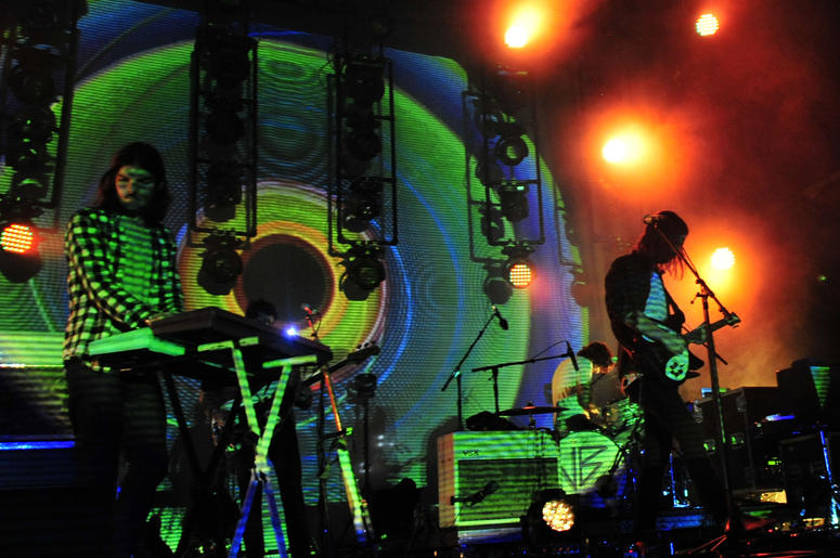 Dominic Simper and Kevin Parker with Tame Impala early Saturday morning during the 2016 Bonnaroo Music and Arts Festival at Great Stage Park.