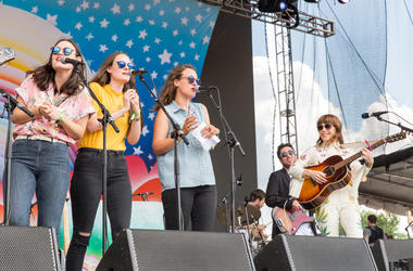 Emily Staveley-Taylor, Jessica Staveley-Taylor and Camilla Staveley-Taylor of The Staves perform with Jenny Lewis at Eaux Claires Music Festival on August 13, 2016, in Eau Claire, Wisconsin. (Photo by Daniel DeSlover/imageSPACE)