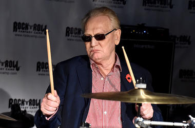 Cream Drummer Ginger Baker plays drums at a rock and roll fantasy camp.