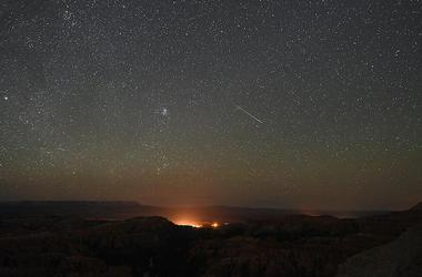 Perseid meteor shower takes place over night sky in Utah.