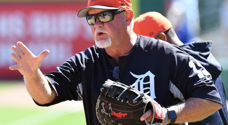 Mar 22, 2018; Clearwater, FL, USA; Detroit Tigers manager Ron Gardenhire (15) gives a tip to a player before a spring training game against the Philadelphia Phillies at Spectrum Field.