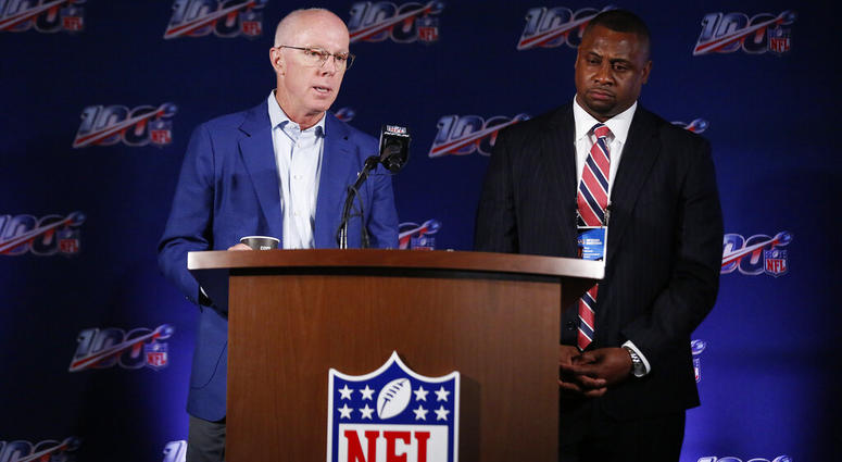 Atlanta Falcons President and CEO, Rich McKay, left, and Troy Vincent, Executive Vice President of Football Operations for the NFL