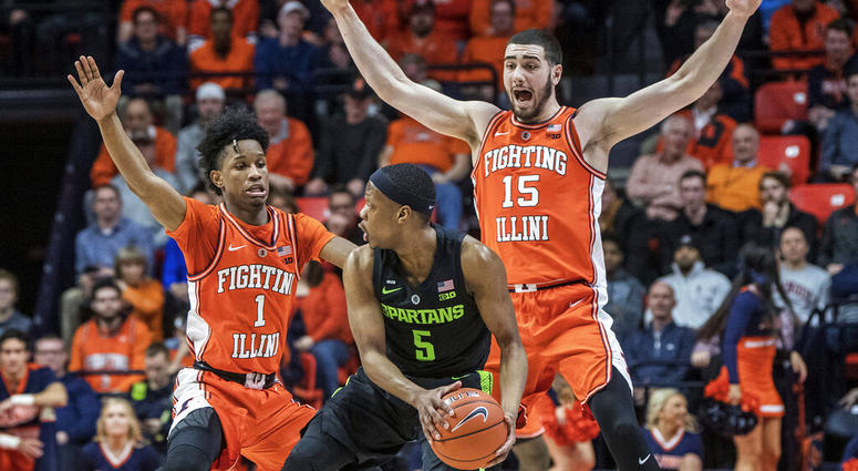 04ecea974625 Illinois guard Trent Frazier (1) and forward Giorgi Bezhanishvili (15)  pressure Michigan State guard Cassius Winston (5) during the first half of  an NCAA ...