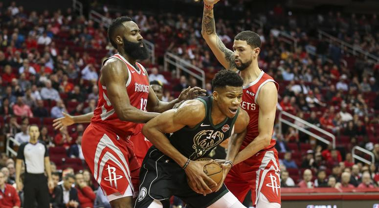 6f4a608e828 Giannis Antetokounmpo Hits James Harden In The Face With Basketball  VIDEO