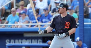 Feb 25, 2018; Dunedin, FL, USA; Detroit Tigers left fielder Mike Gerber (13) at bat at Florida Auto Exchange Stadium.