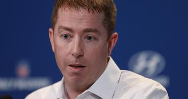 Feb 24, 2016; Indianapolis, IN, USA; Detroit Lions general manager Bob Quinn speaks to the media during the 2016 NFL Scouting Combine at Lucas Oil Stadium.