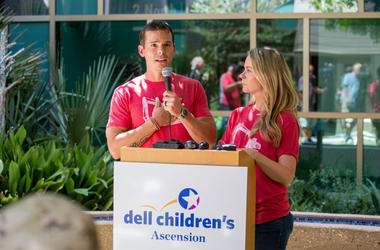 Granger Smith and Amber Smith visit Dell Children's Medical Center of Central Texas to present a donation in memory of their son, River Kelly Smith on June 25, 2019 in Austin, Texas.