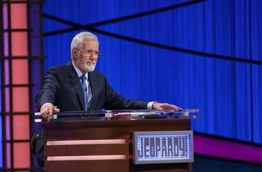 Alex Trebek at Jeopardy! podium