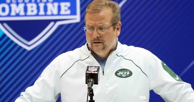 New York Jets general manager Mike Maccagnan addresses the media at the NFL Draft Combine in 2018.