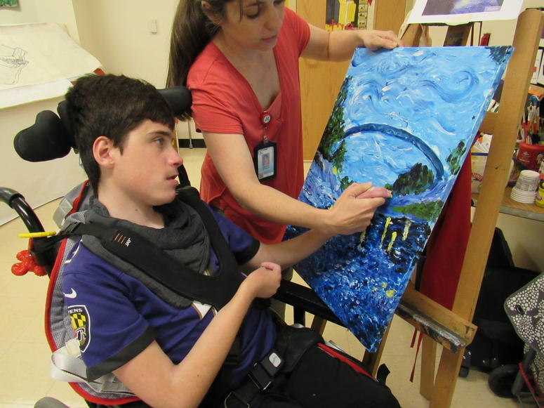 Student finger painting