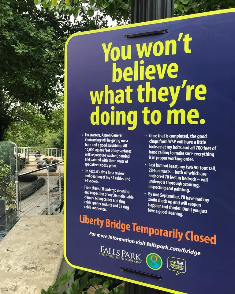 Liberty Bridge repair sign