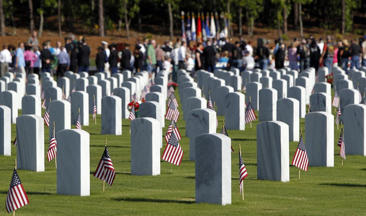 Memorial Day service at Fort Jackson National Cemetery in Columbia, South Carolina, on Monday, May 27, 2013
