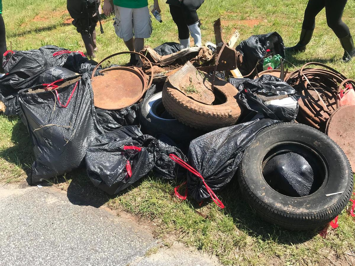 Trash collected from the Reedy River on Earth Day 2019 by Entercom Greenville staff and other volunteers