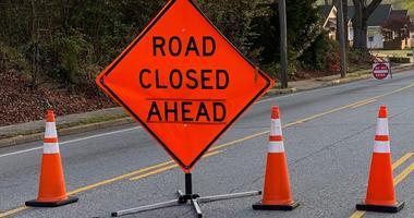 Road Closed Ahead sign