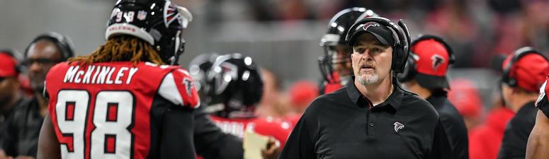 Falcons Head Coach Dan Quinn and DE Takk McKinley