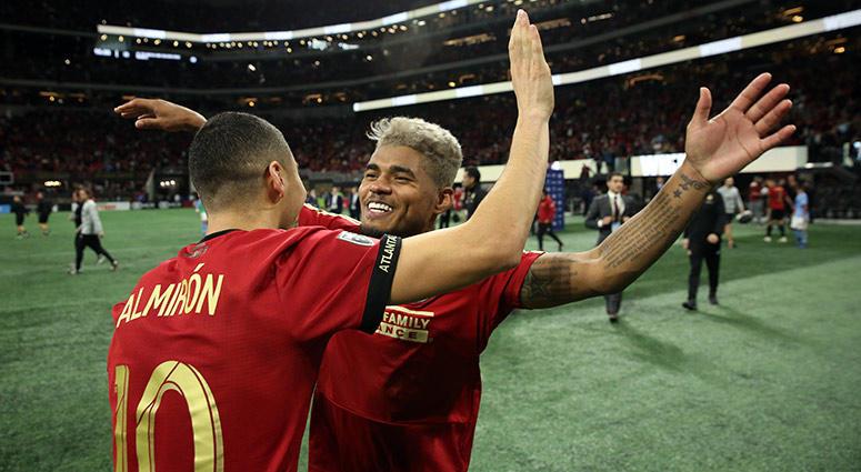 Atlanta United midfielder Miguel Almiron and forward Josef Martinez