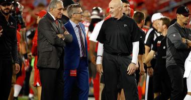 Falcons Owner Arthur Blank, GM Thomas Dimitroff, and Head Coach Dan Quinn