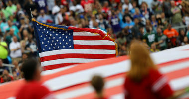 Jan 28, 2018; Orlando, FL, USA; A view of the American flag during the national anthem prior to the game of the AFC against the NFC in the 2018 NFL Pro Bowl at Camping World Stadium.
