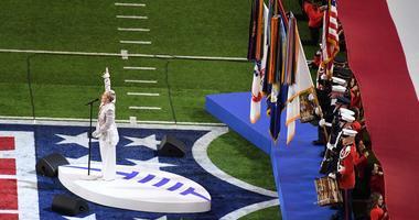 Pink sings the National Anthem at Super Bowl 52
