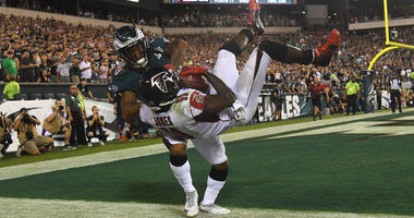 Philadelphia Eagles cornerback Ronald Darby pushes Atlanta Falcons wide receiver Julio Jones out of bounds