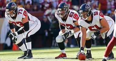 Atlanta Falcons center Alex Mack, offensive guard Ben Garland, and offensive tackle Ryan Schraeder