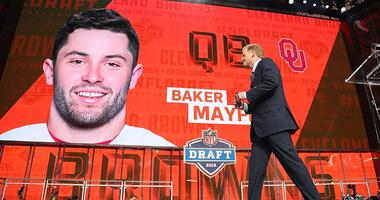NFL commissioner commissioner Roger Goodell walks off stage as Baker Mayfield is selected