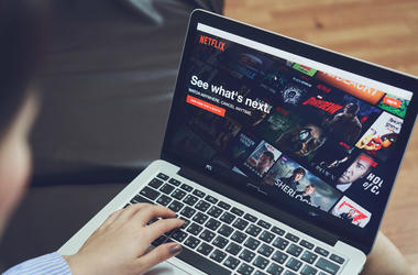January 9, 2018 : Netflix app on Laptop screen. Netflix is an international leading subscription service for watching TV episodes and movies.