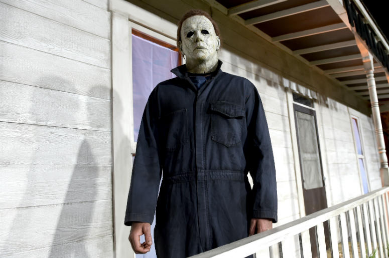 An actor dressed as the character of Michael Myers attends the Universal Pictures' 'Halloween' premiere