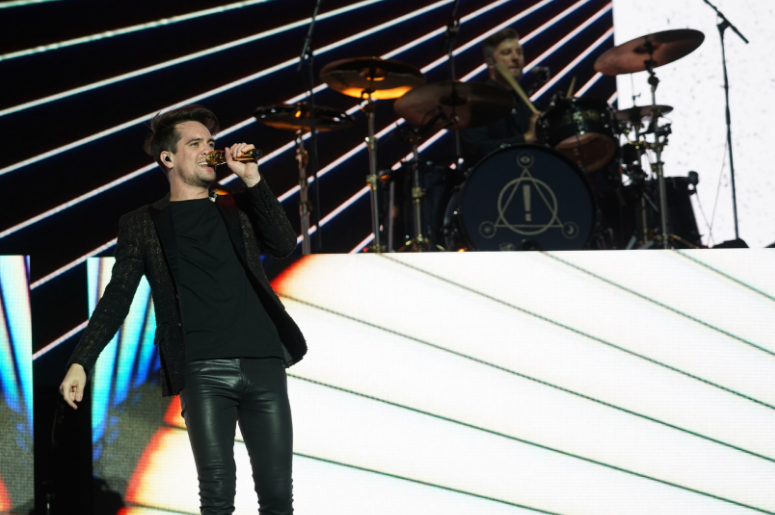 Brendon Urie of Panic! at the Disco performing live on the Main Stage at the 2018 Reading Festival