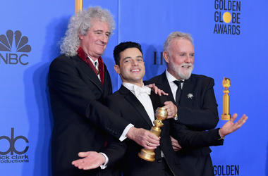Best Actor in a Motion Picture Drama for 'Bohemian Rhapsody' winner Rami Malek (C) with Brian May and Roger Taylor of Queen