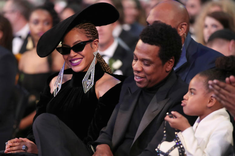 Recording artist Beyonce, Jay Z and daughter Blue Ivy Carter attend the 60th Annual GRAMMY Awards at Madison Square Garden on January 28, 2018 in New York City.